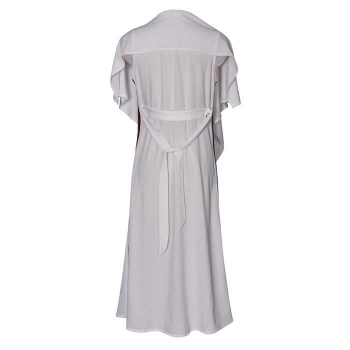 Casual Trench Blanc Plumeau Ouvert Blazer Femmes Avant Mode Manteau Cap Longline Ftq5Uw