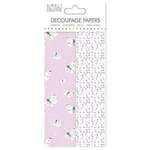 LA FOURMI Papier Découpage - Papillons Lilas - 18,8x35cm x 4fl. (2x2 mod?les)