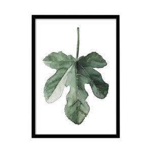 PEINTURE VERRE-VITRAIL Plante Minimaliste Feuilles Encadrée Peinture Pein