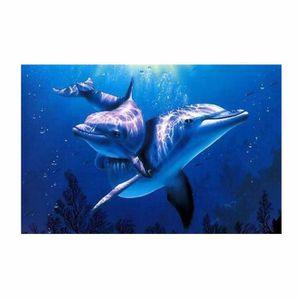 TABLEAU - TOILE love@ décoration murale Deux dauphins peinture num