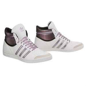 Femme Ten Adidas Cuir Et Hi Baskets Noir Top Sleek BlancMauve 34AqRjcL5