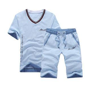 Ensemble de vêtements T Shirt Manches Courte Homme en Lin+Shorts en Lin e1ac5d68c29