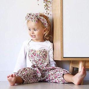 c8a880f047880 Ensemble de vêtements Infant Girls Baby Love Print Romper Jumpsuit Panta