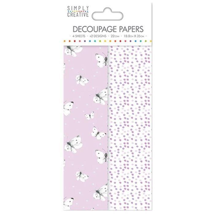 LA FOURMI Papier Découpage - Papillons Lilas - 18,8x35cm x 4fl. (2x2 modèles)