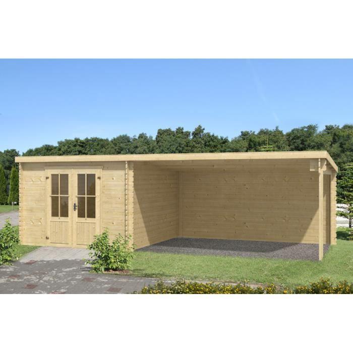 Abri de jardin pr au de m en madriers 28 mm avec toit monopente achat vente abri - Protection toit abri de jardin ...