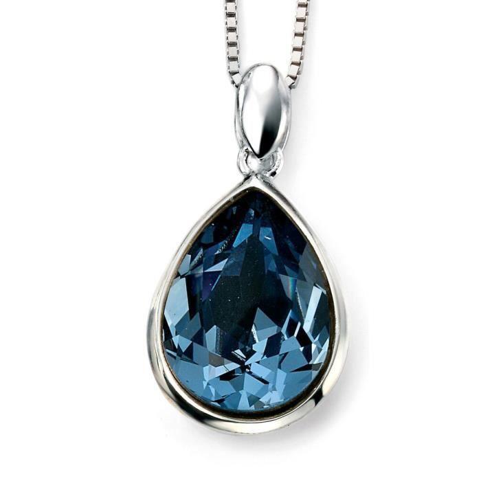 D4208 - Collier en cristal de Swarovski bleu et plaqué rhodium en argent 925/100