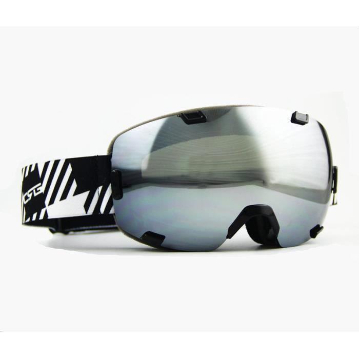 2c4b591e56b8e3 Lunettes Masque de Ski Snowboard Motoneige Lunettes de soleil Double  lentille Anti-brouillard Lunettes Sport d hiver pour homme e.