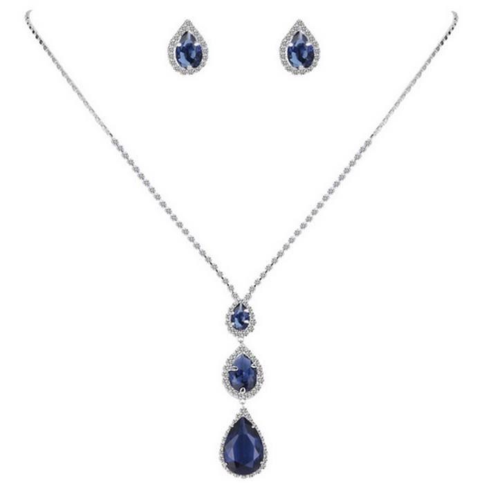 Parure Mariage Bijoux Argenté Cristal Bleu Royal - Achat   Vente ... 77187a5ba448