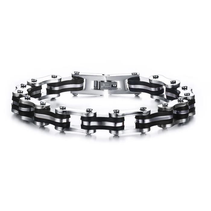 Bracelet - Gourmette - BOBIJOO Jewelry - Bracelet Chaine de Moto Acier Silicone Noir