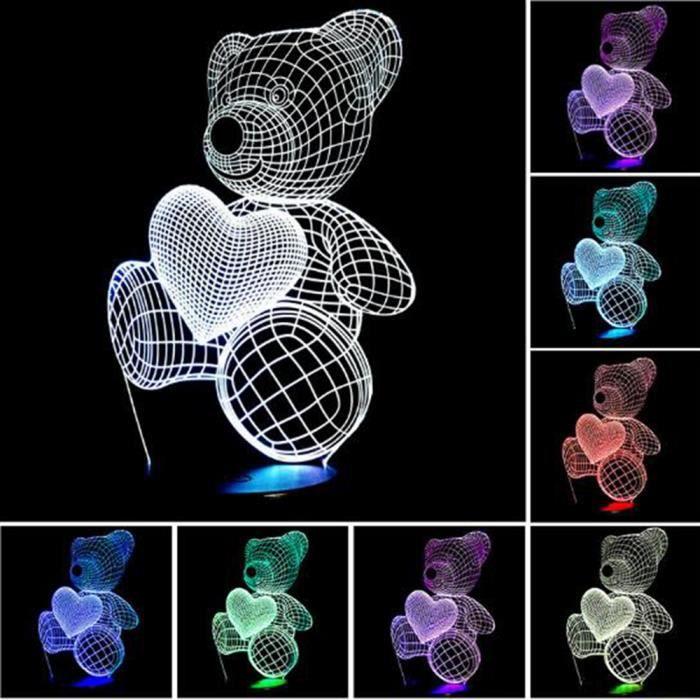 La Bande Dessinee Mignonne Coeur Ours Forme Led Lampe 3d Bebe