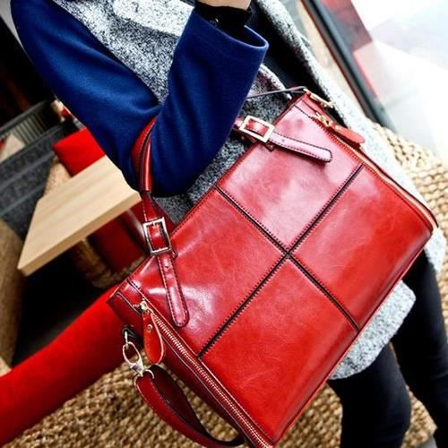 sac à main bleuCuir Stitching Mains épaule Noble Femmes Messenger grande capacité de mode pour Color Lady 4 no.5770