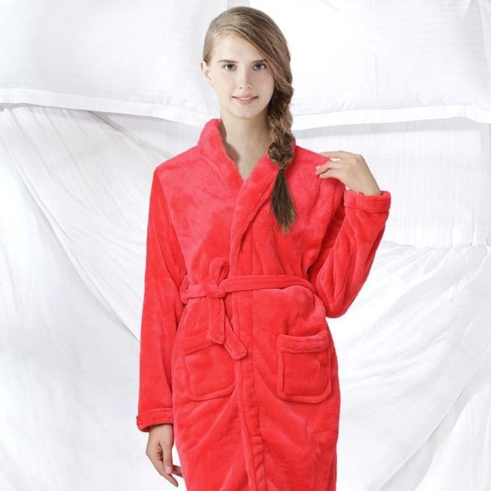 Robe de chambre polaire femme rouge col ch le achat vente robe de chambre french days - Robe de chambre femme leclerc ...