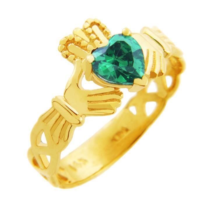 Bague Femme Alliance 10 ct Or 471/1000 Claddagh TrinitéAvec Emeraude Vert Oxyde de Zirconium Cœur