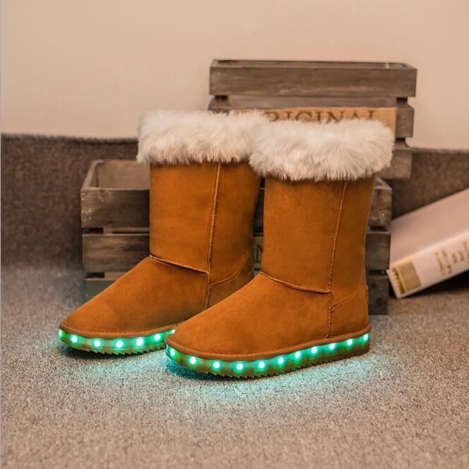 Filles LED Chaussures Bottes de Neige pour Enfant Chaud Hiver Adult Lumineux Chaussures Bottes d'hiver VmANLsXC