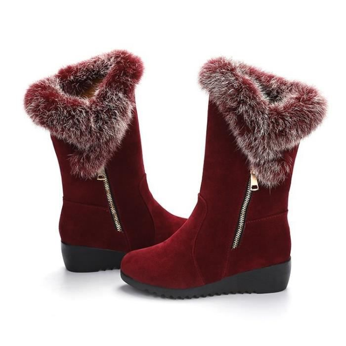 Femmes Mode Fox d'hiver de fourrure de lapin Tassel Suede neige cuir véritable Bottes Femme & # 39; chaussures,rouge,40