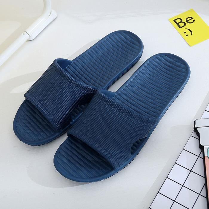 Napoulen®Hommes Stripe pantoufles bain plat estival intérieur et extérieur Bleu-YLL71214525BU TaiDqyI