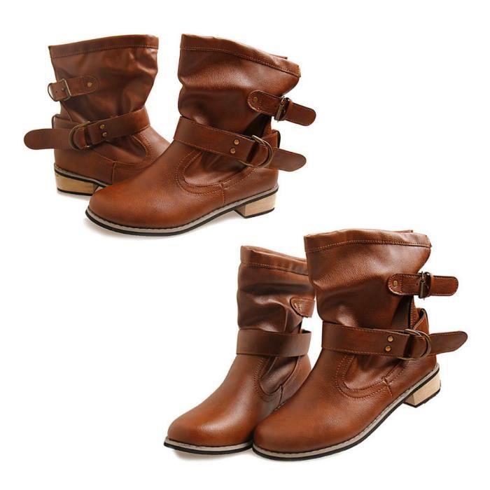 Frankmall®Femmes plat bottes de cheville loisirs Buckle talon bas Martin pour dames Marron NYZ71103551BW