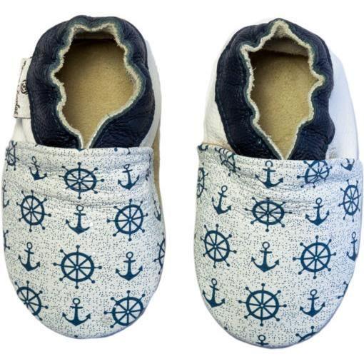 Chaussures en cuir RCC 182 0612-20-21 Anchor Print White