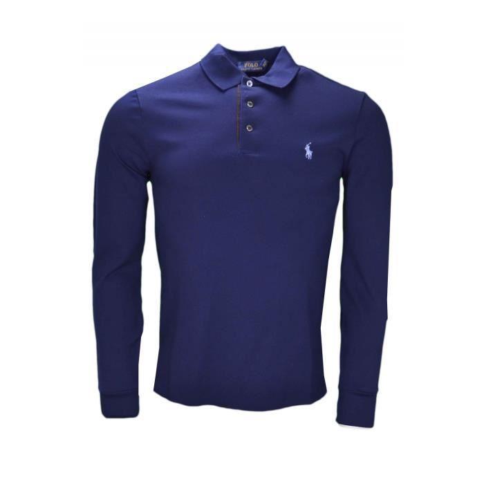 aef09e8fcd3f96 Polo manches longues Ralph Lauren bleu marine pour homme - Taille  S -  Couleur  Bleu