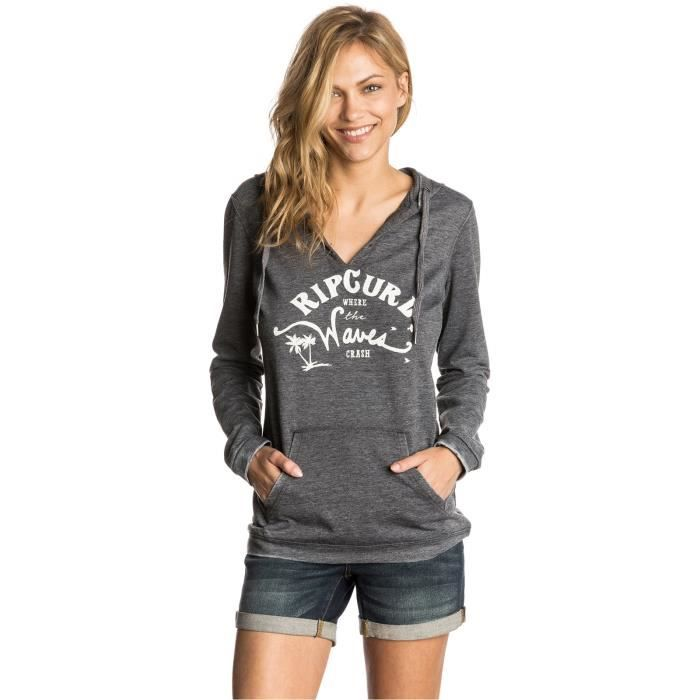 100% authentic outlet for sale reasonably priced Sweat à capuche Femme Rip Curl Salty Waves Noir Gris - Achat ...