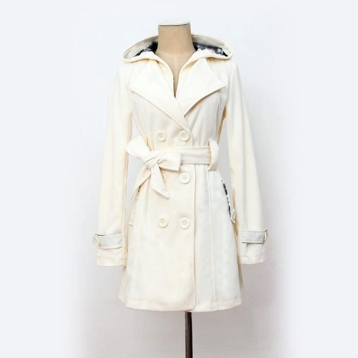 taille 40 80be1 dc529 femme chaude d'hiver à capuchon long manteau Section Ceinture Veste à  double boutonnage blanc