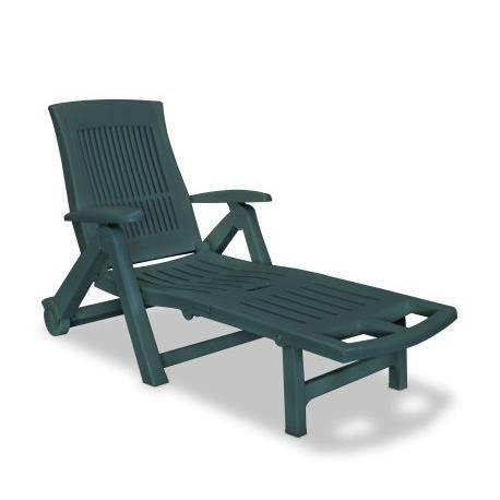 Chaise longue avec repose-pied Plastique Vert - Achat / Vente chaise ...