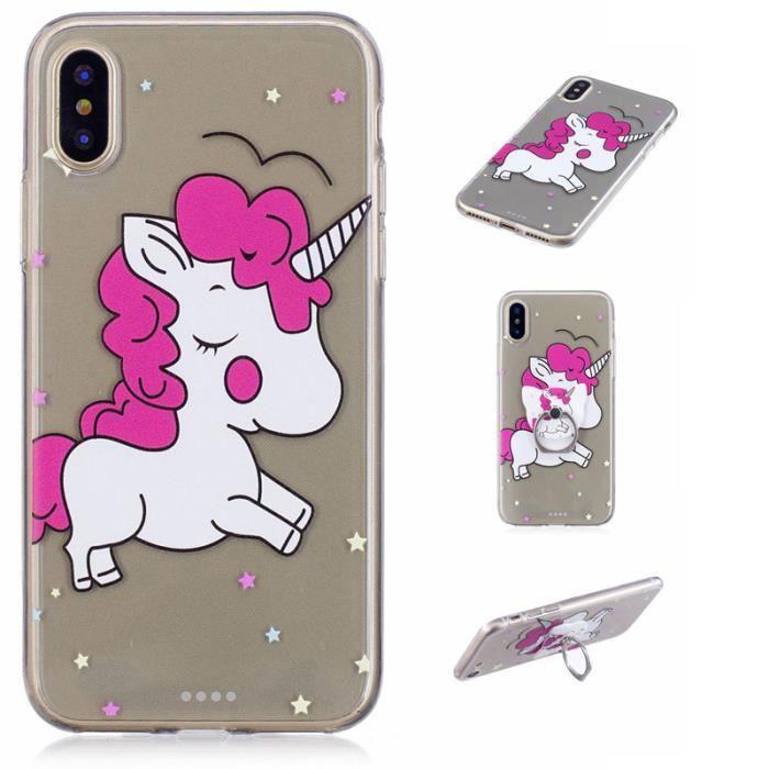 coque iphone x licorne rose
