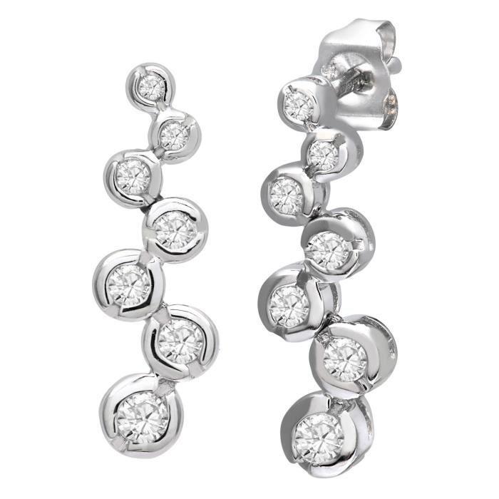 Revoni - Boucles d'oreilles pendantes en or blanc 9 carats et diamants- REVCDPE04585W