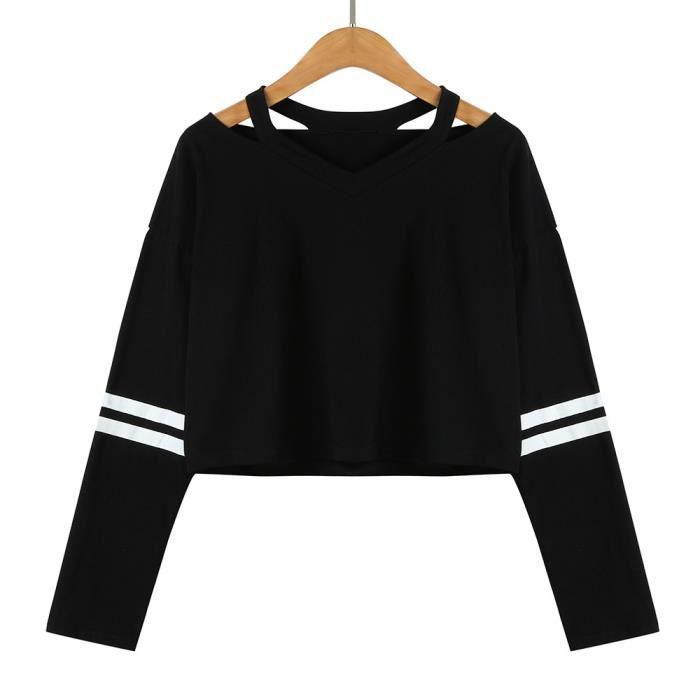Napoulen®Mode Femmes manches longues Sweatshirt V Neck Tops chemisierNoir XXL71204491