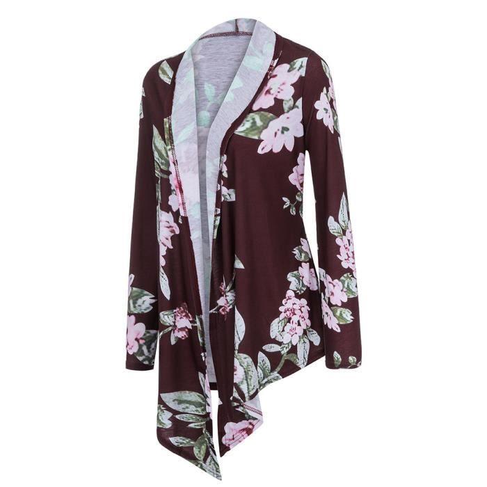 À Manteau Impression Rose Vif Ouvert Manches Blazer Femmes Plus D'hiver Cardigan Size Longues xRzwA5I