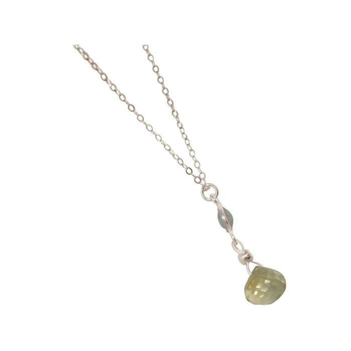 Collier Gemshine avec quartz fumé et citrine. 925 pendentif goutte de pierres précieuses sur la chaîne de 45 cm. Fait à Munich -