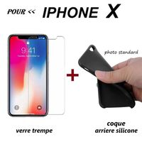 FILM PROTECT. TÉLÉPHONE protection coque silicone + verre trempe iphone x