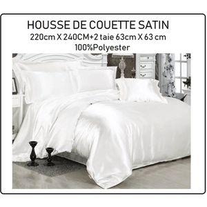 HOUSSE DE COUETTE ET TAIES Housse de Couette Satin 220x240cm+2 taies d'oreill
