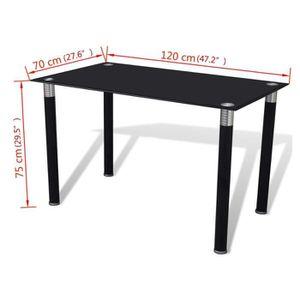 TABLE À MANGER SEULE Table à manger Noire avec plateau en verre trempé 6cf3c026f3cf
