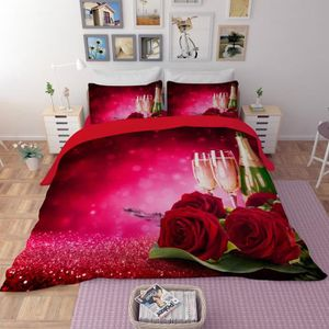 HOUSSE DE COUETTE SEULE Parure de lit Roses roses et champagne romantique
