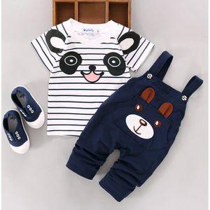 Ensemble de vêtements Bébés Garçons T-shirts Hauts + Pantalons Braces...