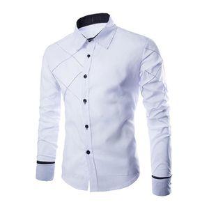 Chemises en coton a manches longues a la mode slim pour les hommes - blanc M f97901504126