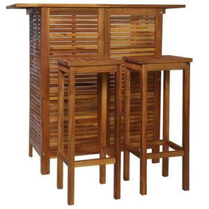 TABLE À MANGER COMPLÈTE Table et chaises de bar 3 pcs Bois d'acacia massif