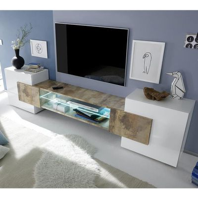 regarder 493ef 878a5 Meuble TV moderne blanc laqué brillant et couleur bois EROS 2 Avec L 258 x  P 37 x H 61 cm Blanc
