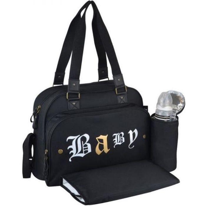 Baby on board - sac à langer - simply rock spirit sac à langer 2 grands compartiments - porte biberon tapis à langer - attaches pous