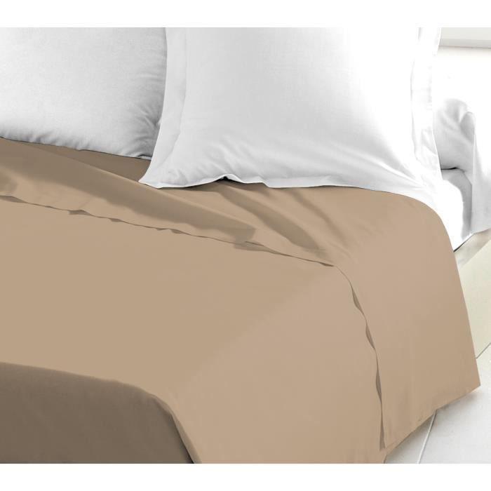 LOVELY HOME Drap Plat 100% coton 180x290 cm beige