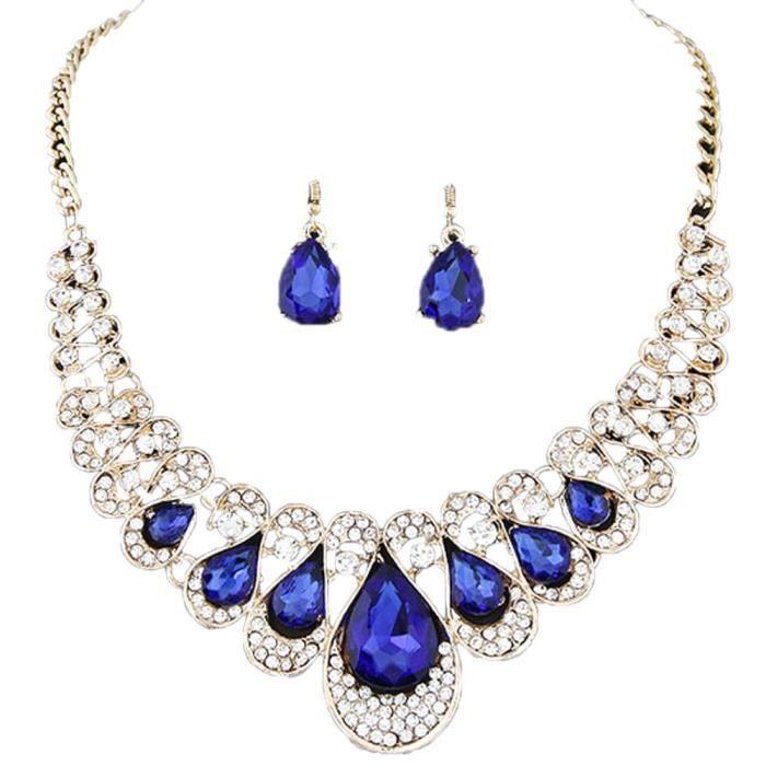 Parure bijoux bleu - Achat   Vente pas cher 2e7b6cf1cec3