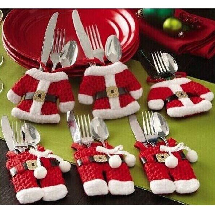 Décors de table 6pcs Sac de Noël Père Noël / sac de vêtements Couv