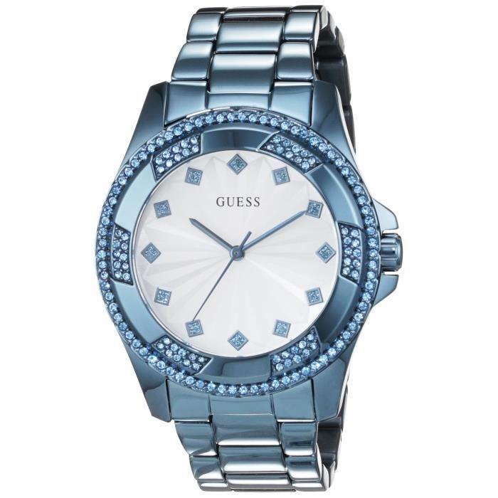 a11c46403d95 Guess - W0702L1 - Montre Femme - Quartz Analogique - Cadran Blanc - Bracelet  Acier Bleu