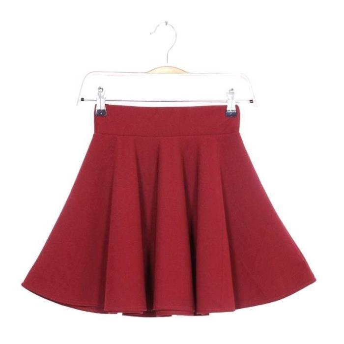 Mini jupe patineuse Femmes jupe évasée plissée ... ROUGE - Achat ... 80561b99ccca