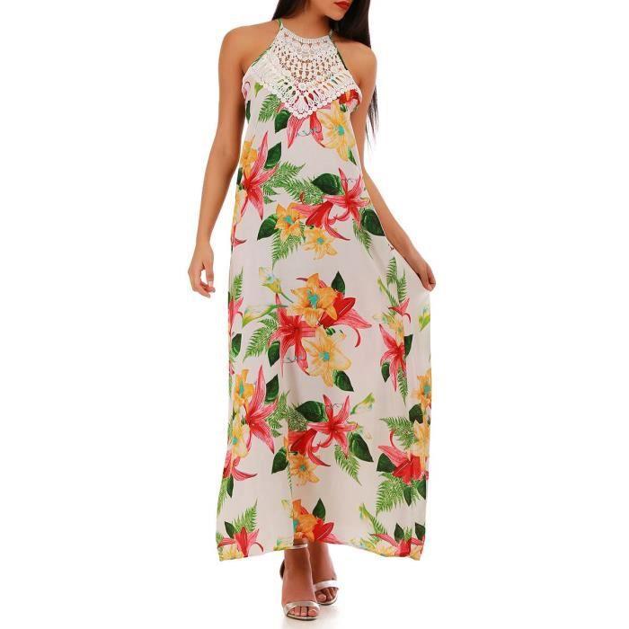 Robe Longue Blanche A Fleur Tropicale Et Crochet S M Blanc Blanc