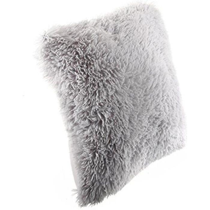 Coussin imitation fourrure poil long Gris, 40 x   Achat / Vente