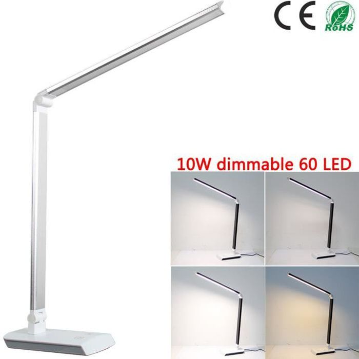 LAMPE A POSER Yorbay Lampe de bureau argent 10W LED dimmable