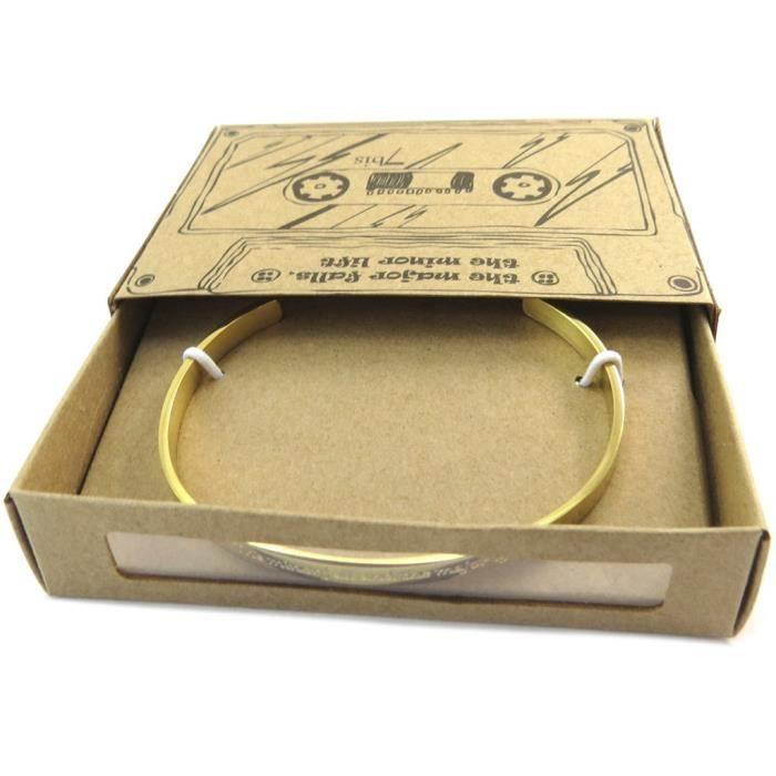 Bracelet artisanal acier Messages (The minor fall and the major lift) doré - 5 mm [P3928]