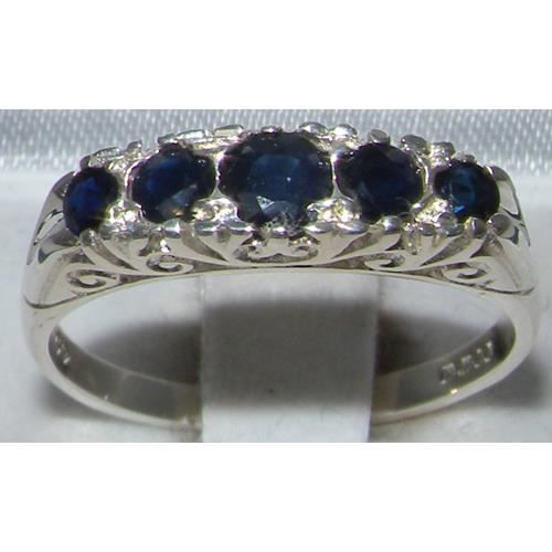Bague pour Femme en Or blanc 9 carats 375-1000 sertie de Saphir bleu- Tailles 50 à 64